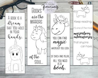 Printable bookmark printable unicorn bookmark gift for her