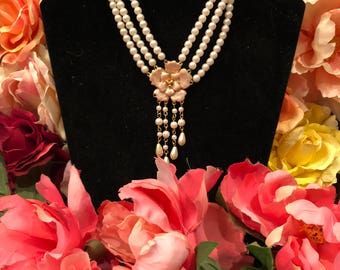 3 Strands of Pearls + Gold Floral Pendant