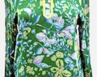 Georgette printed Indian ethnic green kurti kurta tunic top