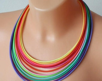 Rainbow necklace, multi strand necklace, rainbow jewelry, tribal necklace, colourful jewelry, statement necklace, LGBT necklace, LGBT pride