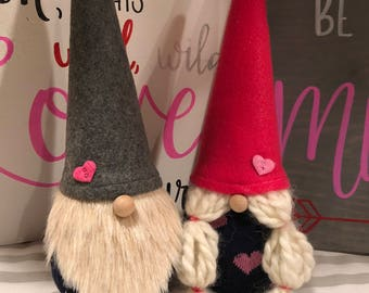 Valentine Gnome Couple Boy Gnome Girl Gnome Love Valentine Decor Scandinavian Gnomes Nisse Tomte