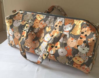 Luxury Knitting Bag Craft Bag Gift Hobby Sewing Yarn Cats Kittens - Grey & Brown