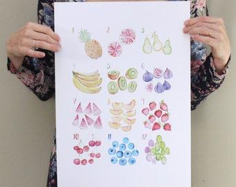 A3 - Cutie Fruitie - fruit watercolour poster