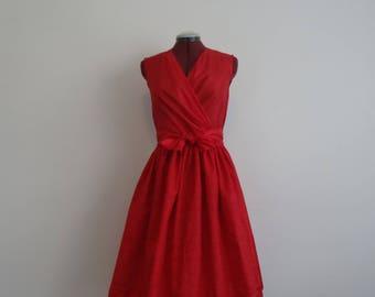 1950s two-piece dress/ red dress/ rockabilly/ swing fashion/ size S