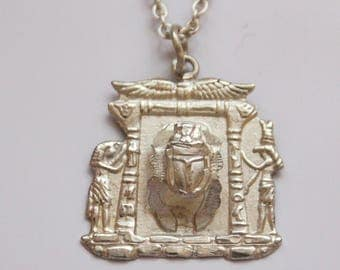 Silver Egyptian Scarab Beetle Pendant Necklace