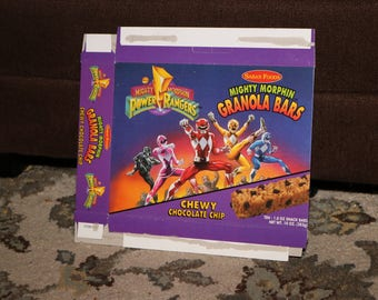Power Rangers 1994 Granola Bars Box Auto Morphin Made by Saban 1990s Black Pink Red Blue Yellow