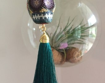 Skull Pendant, Skill Jewelry. Mexican skull necklace, Mexican wrestler mask, Tassel Necklace, Gold Pendant