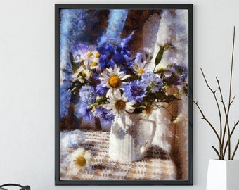 Still life with flowers, Still life chamomile, Still life with cornflowers, Digital download, Home decor