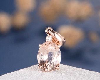 Morganite Pendant Rose Gold Oval Cut Pink Morganite Diamond Minimalist Anniversary Simple Dainty Pendant Morganite Necklace