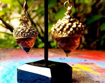 Glass Acorn 'Seedling' Ear Weights