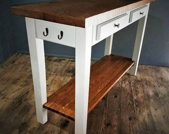 Rough Sawn Oak Kitchen Island, Wood Farmhouse Table, Gray Chalk Paint Finish