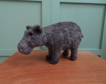 needle felted Hippo, needle felted animals, Hippo wool sculpture, felt hippo, natural toy hippopotamus, organic toy for children