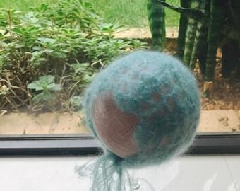 Mohair/Lace Crochet Newborn Bonnet