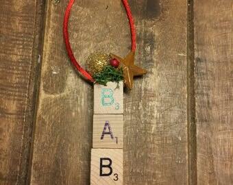 Scrabble Tile Christmas Ornament, Baby Christmas Ornament, Christmas Ornament