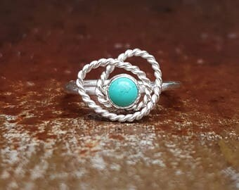 Natural Turquoise & Eco Sterling Silver Statement Ring