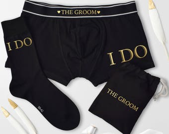 I Do, Grooms Gift Set, Personalised Black Boxers and Socks Set, Various Print Colours, Boxers and Sock Set, Wedding gift for the Groom, vows