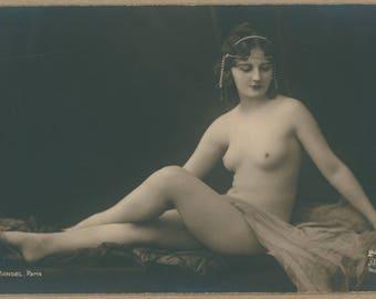 Sea Pearl Veiled II   1920's Parisian Erotica   Photographer Mandel   Antique Sensual Postcard   Reclining Nude Brunette Beauty   Risqué  