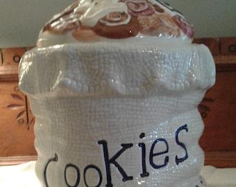Vintage Cookie Jar, Vintage Stoneware, Holiday Cookie Jar, Stoneware, Cookie Jar,