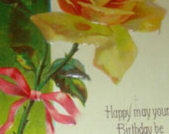Nice Embossed Vintage Yellow Rose Postcard