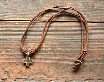 Cross Necklace, Men Leather Necklace, Retro pendent necklace, Male Leather Jewelry, Genuine Leather Necklace