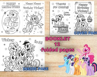 My Little Pony Birthday Party Coloring Booklet / Personalized / Printable / Birthday Party Activities / PDF