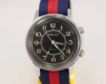 Vintage Military POLJOT SIGNAL Mechanikal Alarm Soviet Era Watch Nato Strap