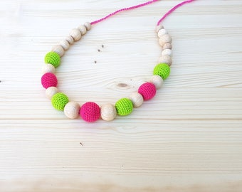 Wooden beads necklace Teething necklace  Pink Green Nursing necklace Crochet wooden beads necklace Organic Natural Eco-friendly Teething toy
