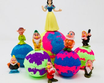 Sale! Disney Snow White and Seven Dwarfs Easter Inspired Kid Bath Bomb Birthday Gift Set or Party Favor with Princess Toy Figures Inside.