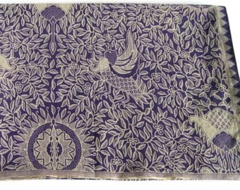 Batik Cotton Fabric - Indonesian Batik Print Birds Flowers Leaves - Purple and Beige Batik Print Material - Sewing Fabric or Sarong Length