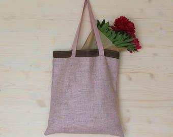 Linen Canvas Bag, Eco Friendly Bag Linen Tote Bag, Canvas Tote, Pink Canvas Bag, Shopping Bag, Large Tote Bag, Eco Bag, Soft Linen Bag