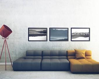 Black And White Landscape Poster Set, Black And White Mountains Poster Set, Abstract Landscape Printable Set, Landscape Photo Decor Set