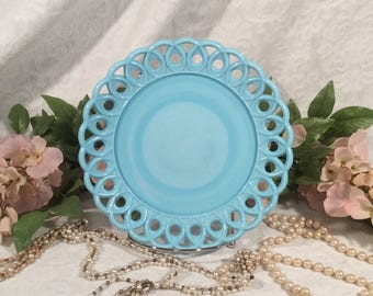 Opaline Blue Milk Glass Plate, Challinor Taylor and Co.