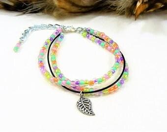 Multi Strand Boho Bracelet, Seed Bead Bracelet, Beaded Boho Wrap, Multi Color Bracelet, Single Wrap, Beaded Bracelet, Beaded Leather Wrap