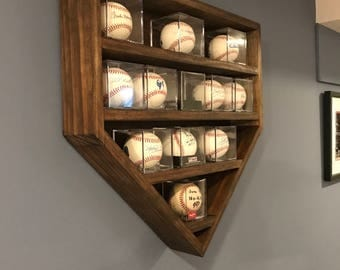 Baseball Display Shelf for Baseball Cases, Baseball Shelf, Home Plate Baseball Shelf, Home Plate Shadow Box, Holds 14 Baseball Cases