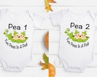 Two Peas In A Pod, Twins bodysuits, Twins clothes, Baby shower gift, peas in pod bodysuit, peas in pod design, peas in pod