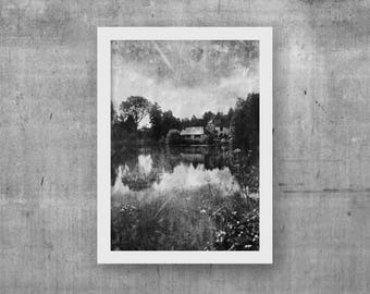 Vintage wall decor Stylized photography Commercial use Rustic famhouse decor Black and white photography Prontable wall art Little house