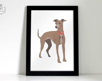 Greyhound Poster Design Wall Print. Greyhound Stood Up Illustration.