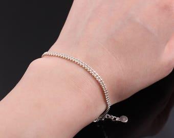 Dainty silver chain bracelet, Delicate silver bracelet, Sterling silver bracelet, Stacking bracelet, Layering bracelet,Silver chain bracelet
