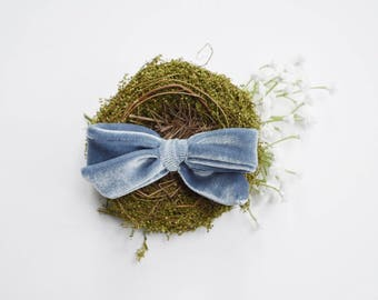 Dusty Blue Velvet Bow | Vintage velvet bows, Baby headband set, Baby bow Headbands, Small Bows, Baby Bows, Newborn headbands, Nylon Headband