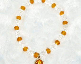 Amber and Clear Beaded Bracelet
