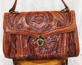 Vintage Designer Johnny's Bag's Mexican Hand Tooled Genuine Leather Top Handle Handbag Metal Turn Clasp Handmade Mexico Bronze Metal