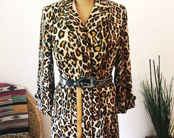 Geri C. Vintage 90s Faux Fur Leopard Mid-Length Trench Coat Jacket Notch Collar 70s Style Disco Rock Hippie Boho Fall Coat Costume