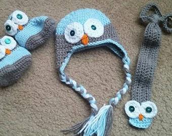Crochet Owl Set, Hat/ Boots/Tie