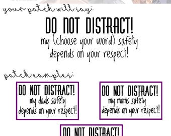 DO NOT DISTRACT! Patch | Choose Your Wording & Thread Color | Service Dog Patch