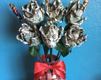 Money Roses Bouquet with Glass Vase Filled With Candy