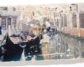 T208 Handmade Travertine Tile - Gondolas moored along the canals of Venice, Italy