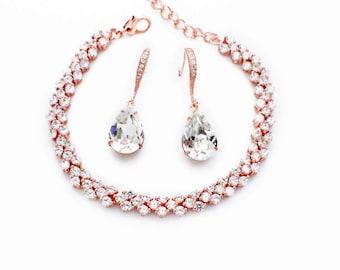 Swarovski crystal earrings, Rose Gold bracelet, bridesmaid jewelry set, crystal bridesmaid jewelry, crystal wedding set, bridesmaid set