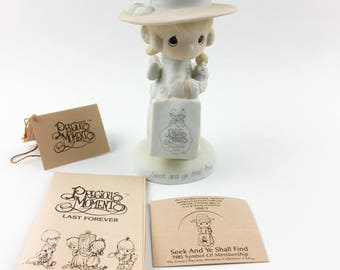 Vintage Precious Moments 1985 Symbol Of membership Seek And Ye Shall Find Figurine E-0105