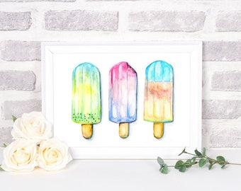 Kids Room Decor, Popsicle Printable, Nursery Decor, Ice Cream Prints, Popsicle Wall Art, Ice Cream Nursery Art, Popsicle Art Print