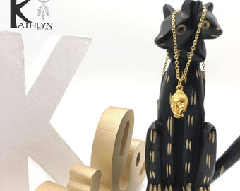 Buddha gilded with 24 K gold necklace